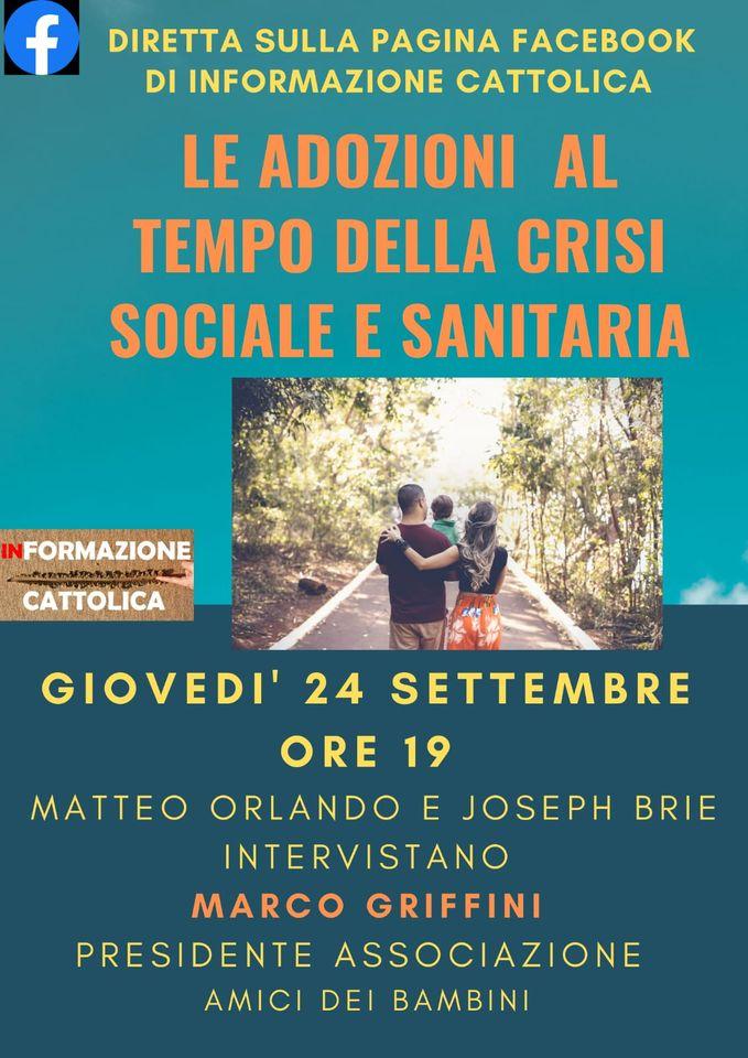 """Alle 19, sulla pagina Facebook di Informazione Cattolica, """"adozioni al tempo della crisi sociale e sanitaria"""""""